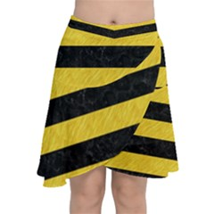 Stripes2 Black Marble & Yellow Colored Pencil Chiffon Wrap