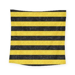 Stripes2 Black Marble & Yellow Colored Pencil Square Tapestry (small) by trendistuff