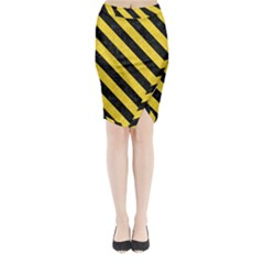 Stripes3 Black Marble & Yellow Colored Pencil Midi Wrap Pencil Skirt by trendistuff