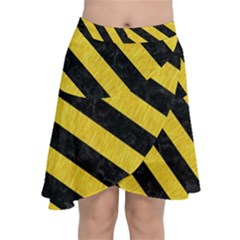 Stripes3 Black Marble & Yellow Colored Pencil Chiffon Wrap