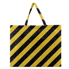 Stripes3 Black Marble & Yellow Colored Pencil (r) Zipper Large Tote Bag by trendistuff