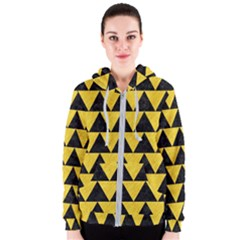 Triangle2 Black Marble & Yellow Colored Pencil Women s Zipper Hoodie