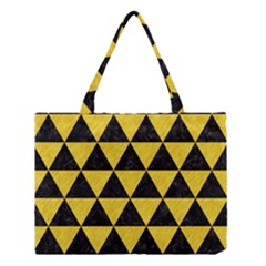 Triangle3 Black Marble & Yellow Colored Pencil Medium Tote Bag by trendistuff