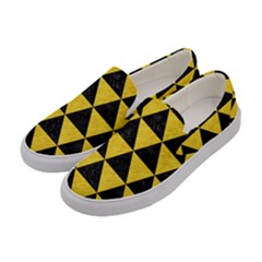 Triangle3 Black Marble & Yellow Colored Pencil Women s Canvas Slip Ons by trendistuff
