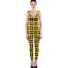 Woven1 Black Marble & Yellow Colored Pencil Onepiece Catsuit