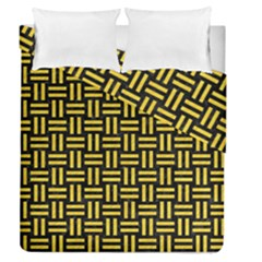 Woven1 Black Marble & Yellow Colored Pencil (r) Duvet Cover Double Side (queen Size) by trendistuff