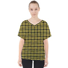 Woven1 Black Marble & Yellow Colored Pencil (r) V Neck Dolman Drape Top