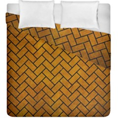 Brick2 Black Marble & Yellow Grunge Duvet Cover Double Side (king Size) by trendistuff
