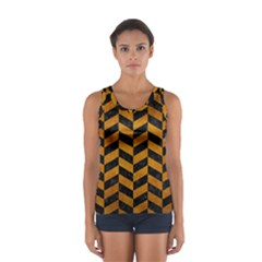 Chevron1 Black Marble & Yellow Grunge Sport Tank Top
