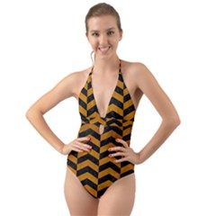 Chevron2 Black Marble & Yellow Grunge Halter Cut Out One Piece Swimsuit