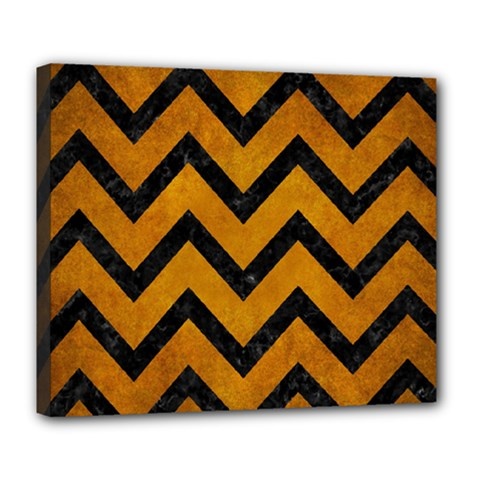 Chevron9 Black Marble & Yellow Grunge Deluxe Canvas 24  X 20