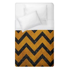 Chevron9 Black Marble & Yellow Grunge Duvet Cover (single Size) by trendistuff