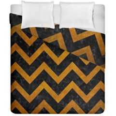 Chevron9 Black Marble & Yellow Grunge (r) Duvet Cover Double Side (california King Size) by trendistuff
