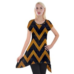 Chevron9 Black Marble & Yellow Grunge (r) Short Sleeve Side Drop Tunic