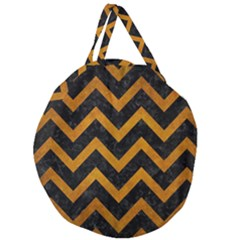 Chevron9 Black Marble & Yellow Grunge (r) Giant Round Zipper Tote