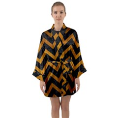Chevron9 Black Marble & Yellow Grunge (r) Long Sleeve Kimono Robe