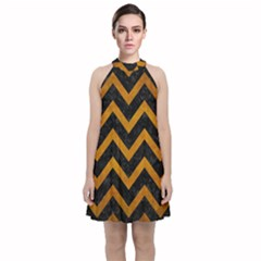 Chevron9 Black Marble & Yellow Grunge (r) Velvet Halter Neckline Dress  by trendistuff