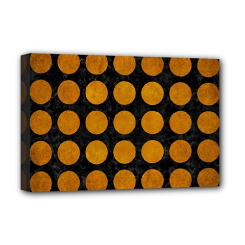 Circles1 Black Marble & Yellow Grunge (r) Deluxe Canvas 18  X 12   by trendistuff
