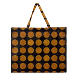 Circles1 Black Marble & Yellow Grunge (r) Zipper Large Tote Bag by trendistuff