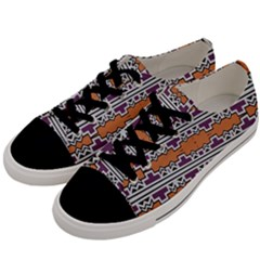 Purple And Brown Shapes                            Men s Low Top Canvas Sneakers by LalyLauraFLM