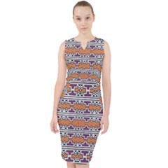 Purple And Brown Shapes                                    Midi Bodycon Dress