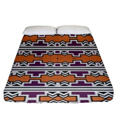 Purple And Brown Shapes                                 Fitted Sheet (king Size) by LalyLauraFLM