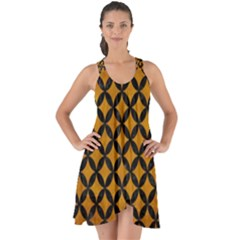 Circles3 Black Marble & Yellow Grunge Show Some Back Chiffon Dress