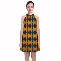 Diamond1 Black Marble & Yellow Grunge Velvet Halter Neckline Dress  by trendistuff