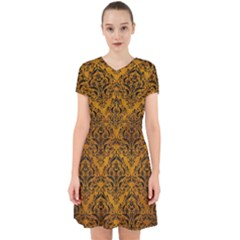 Damask1 Black Marble & Yellow Grunge Adorable In Chiffon Dress