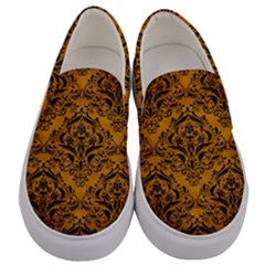 Damask1 Black Marble & Yellow Grunge Men s Canvas Slip Ons