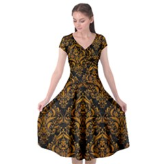 Damask1 Black Marble & Yellow Grunge (r) Cap Sleeve Wrap Front Dress by trendistuff