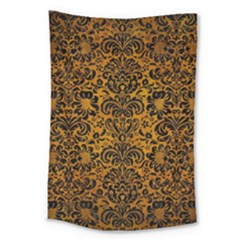 Damask2 Black Marble & Yellow Grunge Large Tapestry by trendistuff