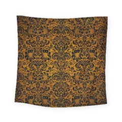 Damask2 Black Marble & Yellow Grunge Square Tapestry (small) by trendistuff