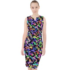 Colorful Paint Strokes On A Black Background                                  Midi Bodycon Dress by LalyLauraFLM