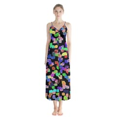 Colorful Paint Strokes On A Black Background                                Chiffon Maxi Dress