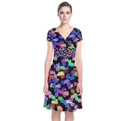 Colorful Paint Strokes On A Black Background                           Short Sleeve Front Wrap Dress by LalyLauraFLM