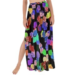Colorful Paint Strokes On A Black Background                              Maxi Chiffon Tie-up Sarong by LalyLauraFLM