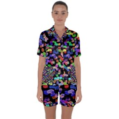 Colorful Paint Strokes On A Black Background                   Satin Short Sleeve Pyjamas Set by LalyLauraFLM