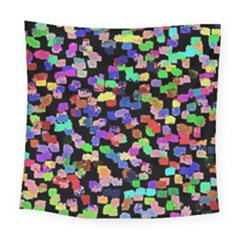 Colorful Paint Strokes On A Black Background                               Square Tapestry by LalyLauraFLM
