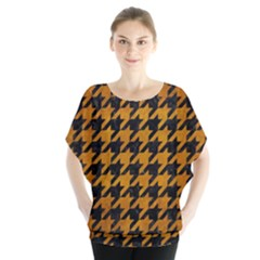 Houndstooth1 Black Marble & Yellow Grunge Blouse