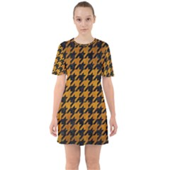 Houndstooth1 Black Marble & Yellow Grunge Sixties Short Sleeve Mini Dress