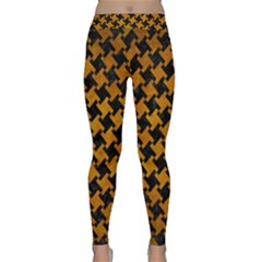 Houndstooth2 Black Marble & Yellow Grunge Classic Yoga Leggings by trendistuff