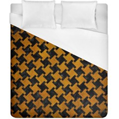 Houndstooth2 Black Marble & Yellow Grunge Duvet Cover (california King Size) by trendistuff