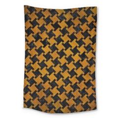 Houndstooth2 Black Marble & Yellow Grunge Large Tapestry by trendistuff