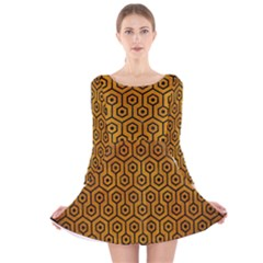 Hexagon1 Black Marble & Yellow Grunge Long Sleeve Velvet Skater Dress
