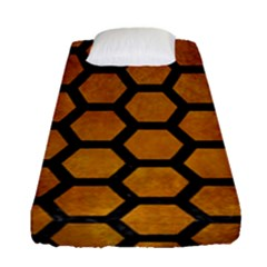 Hexagon2 Black Marble & Yellow Grunge Fitted Sheet (single Size) by trendistuff