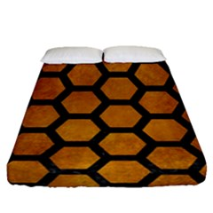 Hexagon2 Black Marble & Yellow Grunge Fitted Sheet (queen Size) by trendistuff