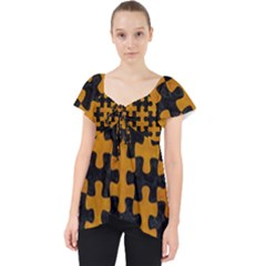 Puzzle1 Black Marble & Yellow Grunge Lace Front Dolly Top