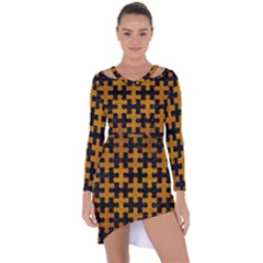 Puzzle1 Black Marble & Yellow Grunge Asymmetric Cut Out Shift Dress