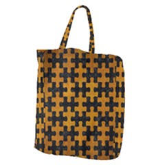 Puzzle1 Black Marble & Yellow Grunge Giant Grocery Zipper Tote